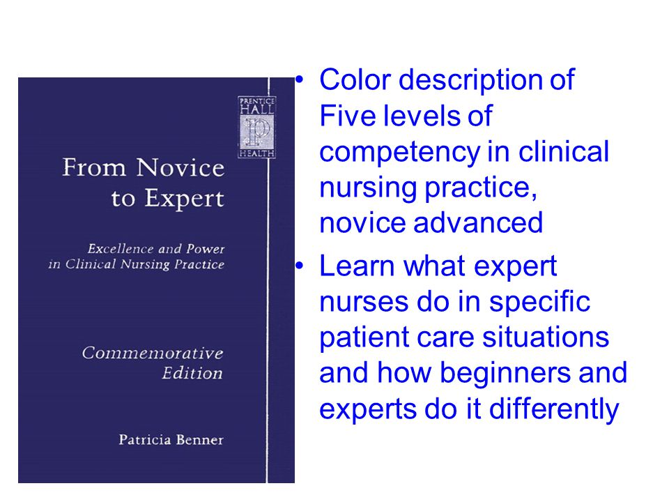 Color description of Five levels of competency in clinical nursing practice, novice advanced