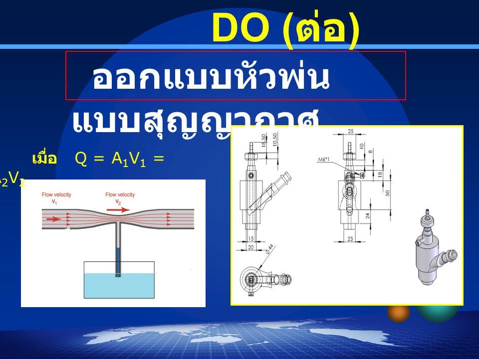 DO (ต่อ) ออกแบบหัวพ่นแบบสุญญากาศ เมื่อ Q = A1V1 = A2V2