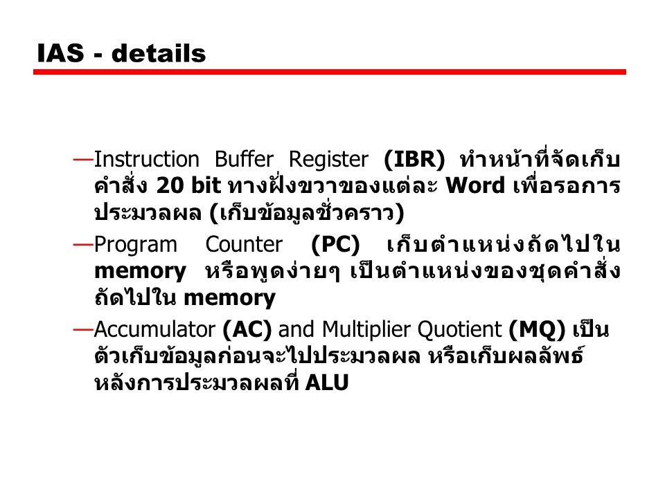IAS - details Instruction Buffer Register (IBR) ทำหน้าที่จัดเก็บคำสั่ง 20 bit ทางฝั่งขวาของแต่ละ Word เพื่อรอการประมวลผล (เก็บข้อมูลชั่วคราว)