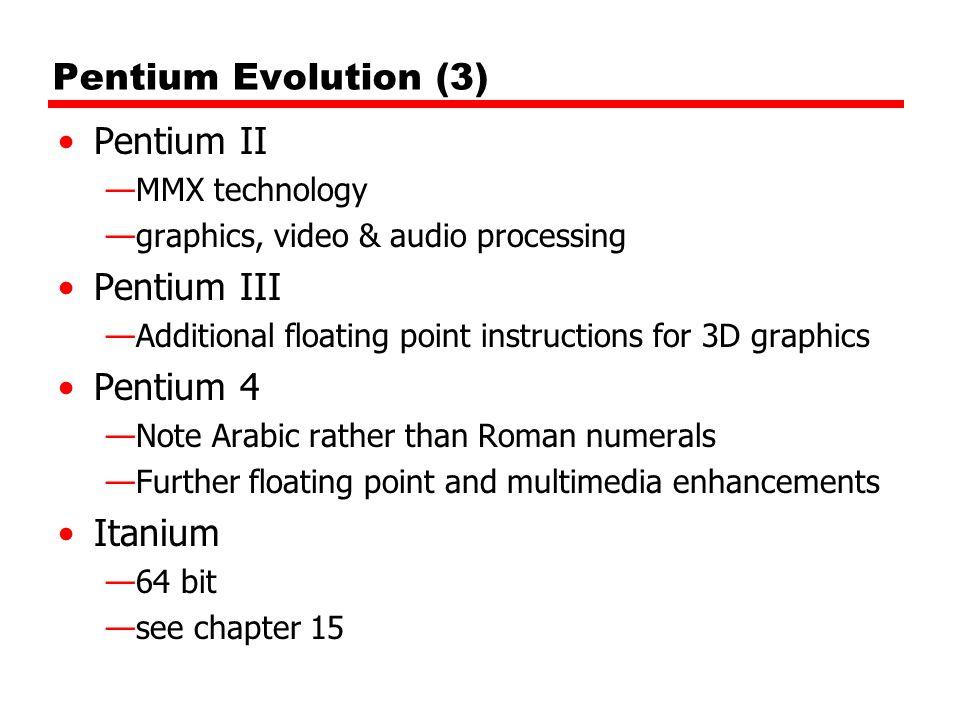 Pentium Evolution (3) Pentium II Pentium III Pentium 4 Itanium