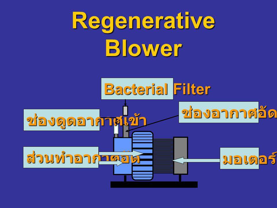 Regenerative Blower Bacterial Filter ช่องอากาศอัดออก ช่องดูดอากาศเข้า