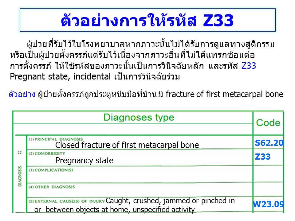 ตัวอย่างการให้รหัส Z33