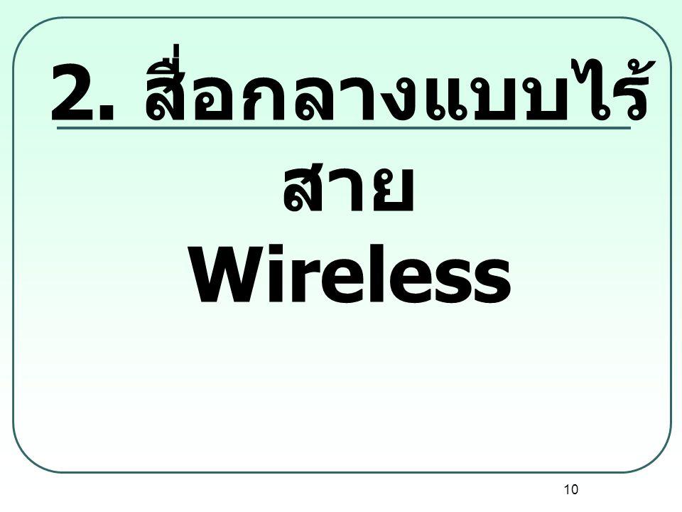 2. สื่อกลางแบบไร้สาย Wireless