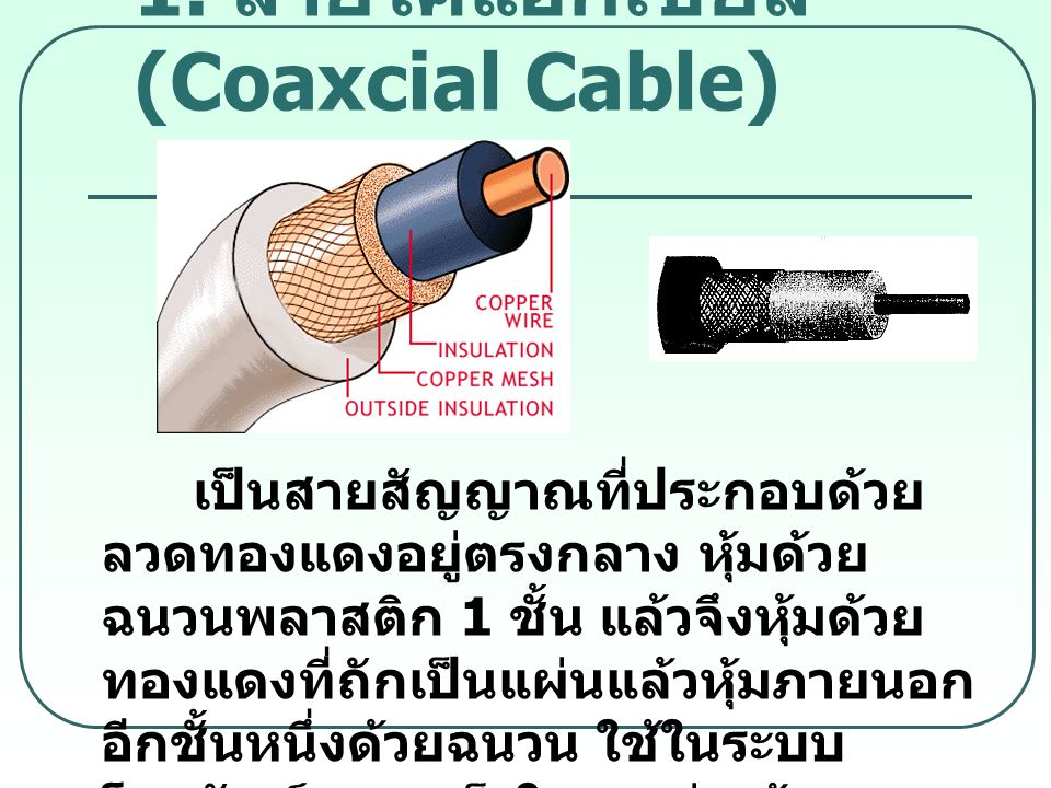 1. สายโคแอกเชียล (Coaxcial Cable)