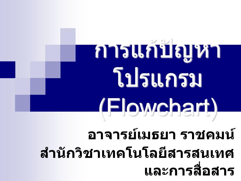 การแก้ปัญหาโปรแกรม (Flowchart)
