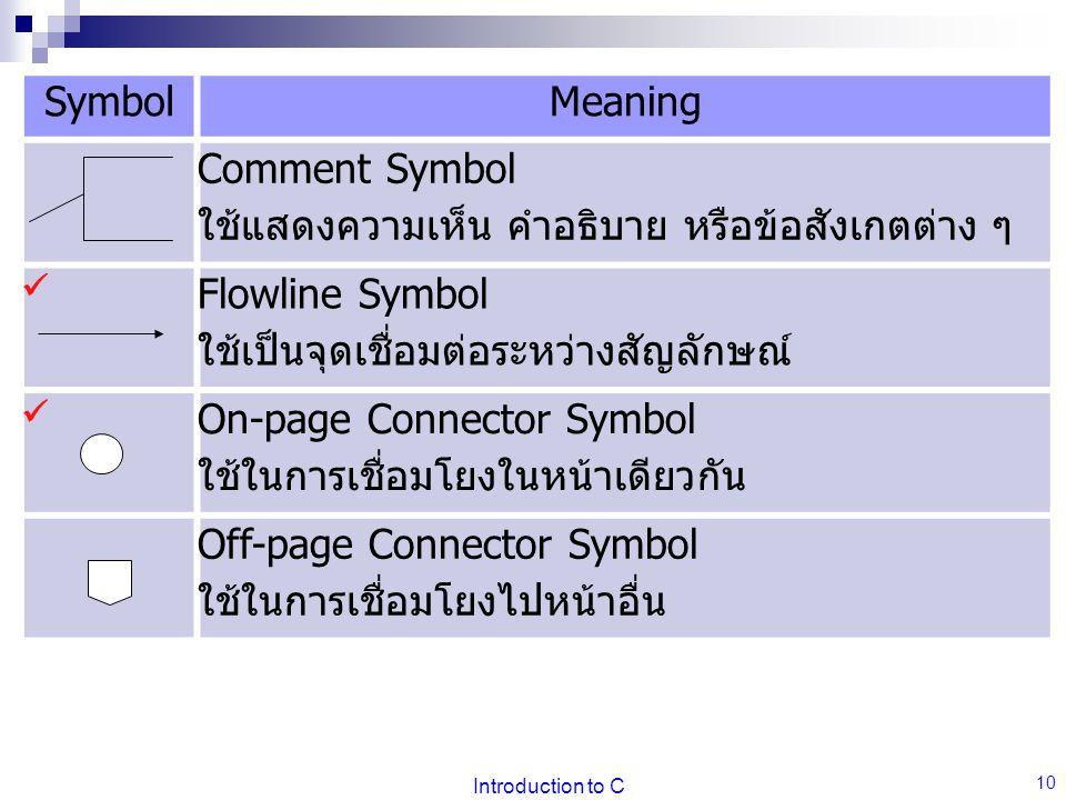Comment Symbol ใช้แสดงความเห็น คำอธิบาย หรือข้อสังเกตต่าง ๆ