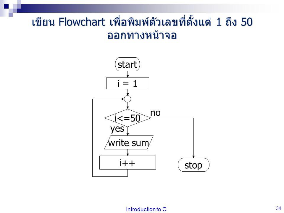 เขียน Flowchart เพื่อพิมพ์ตัวเลขที่ตั้งแต่ 1 ถึง 50 ออกทางหน้าจอ