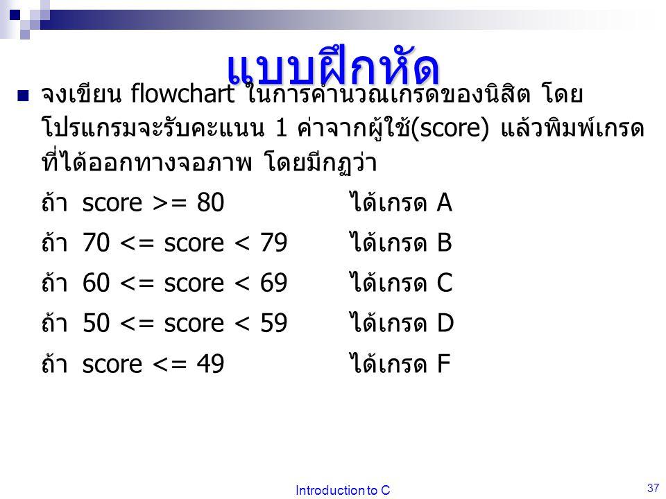 แบบฝึกหัด จงเขียน flowchart ในการคำนวณเกรดของนิสิต โดยโปรแกรมจะรับคะแนน 1 ค่าจากผู้ใช้(score) แล้วพิมพ์เกรดที่ได้ออกทางจอภาพ โดยมีกฏว่า.