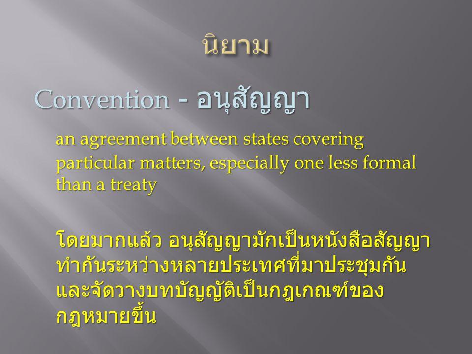 นิยาม Convention - อนุสัญญา