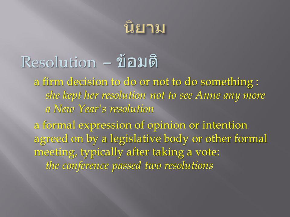 นิยาม Resolution – ข้อมติ