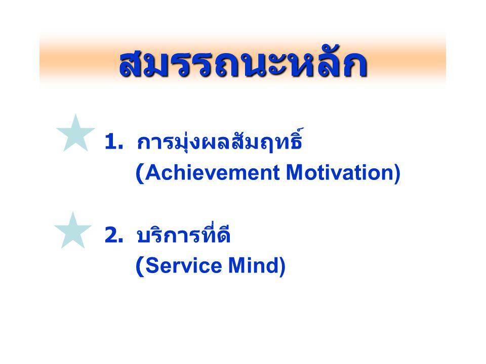 สมรรถนะหลัก 1. การมุ่งผลสัมฤทธิ์ (Achievement Motivation)