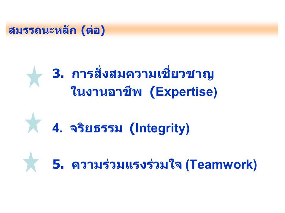 3. การสั่งสมความเชี่ยวชาญ ในงานอาชีพ (Expertise)
