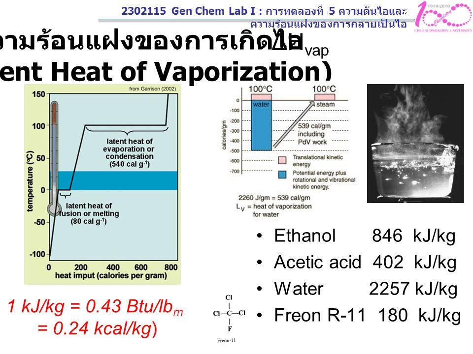 ความร้อนแฝงของการเกิดไอ (Latent Heat of Vaporization)