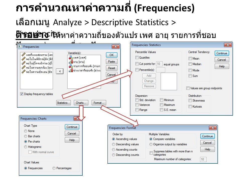 การคำนวณหาค่าความถี่ (Frequencies)