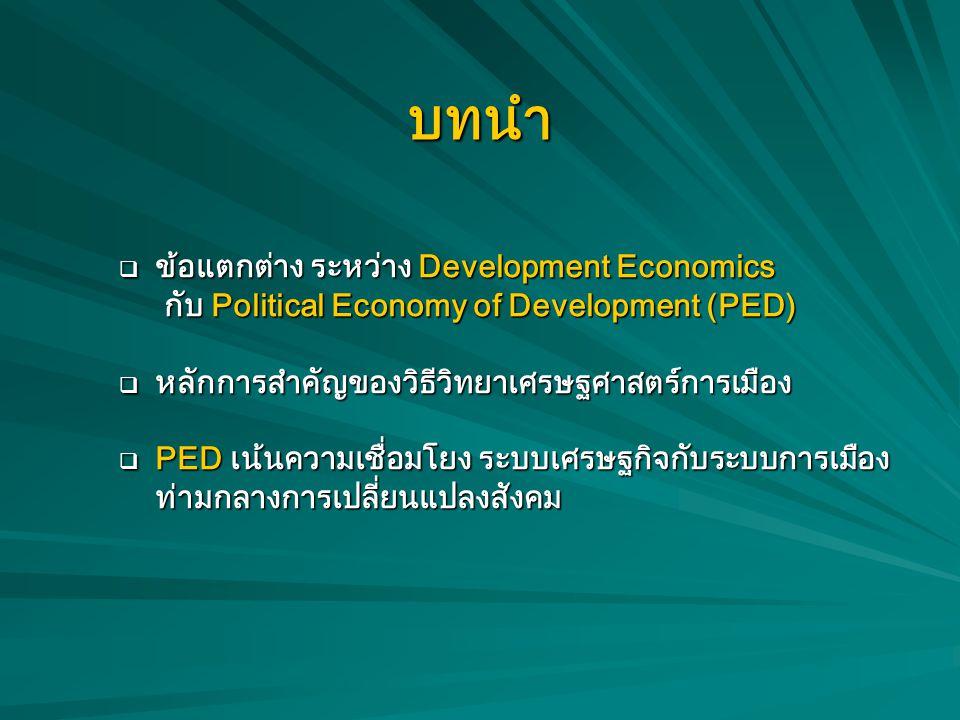 บทนำ ข้อแตกต่าง ระหว่าง Development Economics