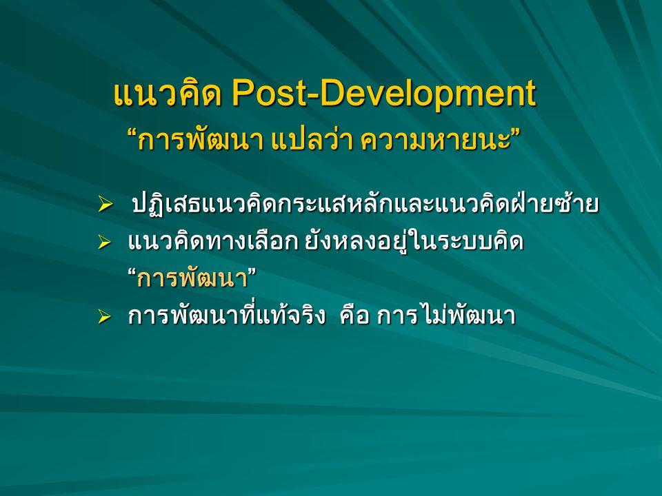 แนวคิด Post-Development การพัฒนา แปลว่า ความหายนะ