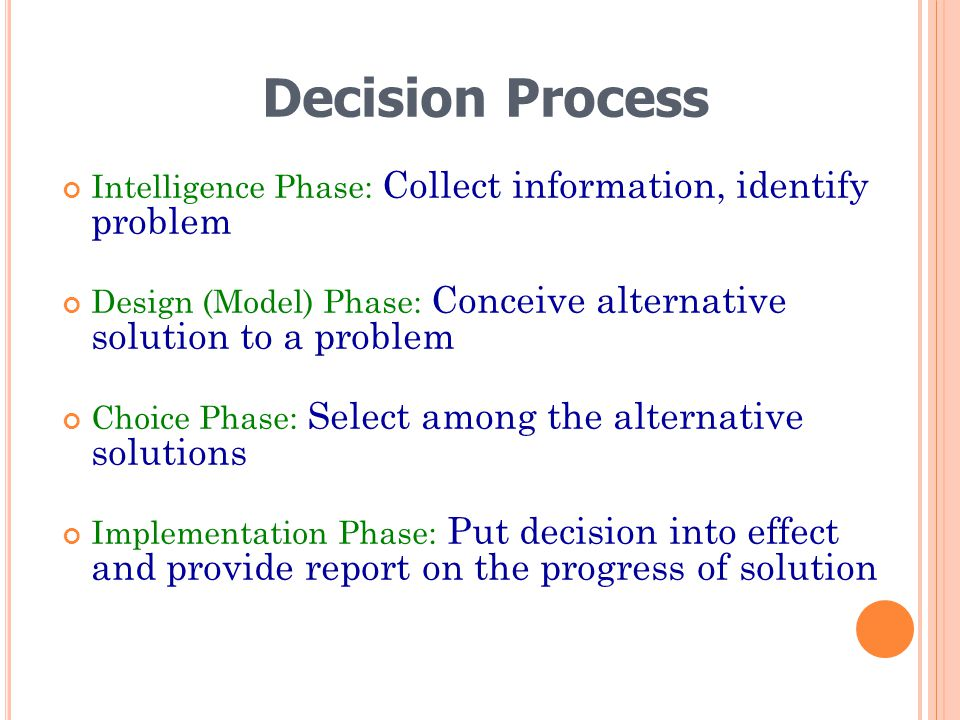 Decision Process Intelligence Phase: Collect information, identify problem. Design (Model) Phase: Conceive alternative solution to a problem.