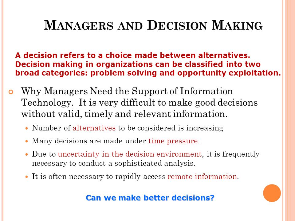 Managers and Decision Making