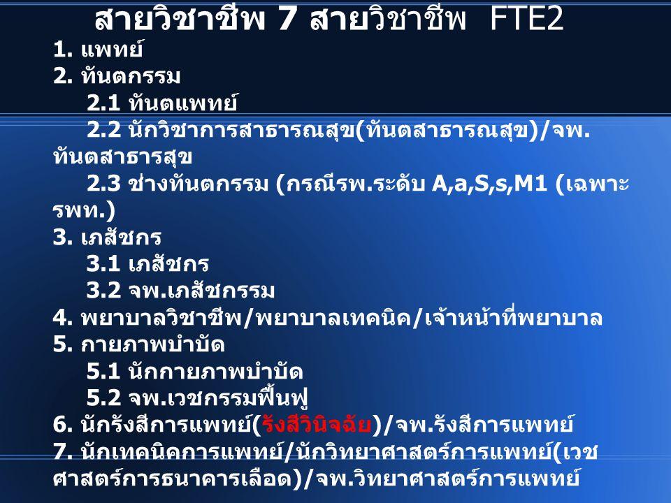 สายวิชาชีพ 7 สายวิชาชีพ FTE2