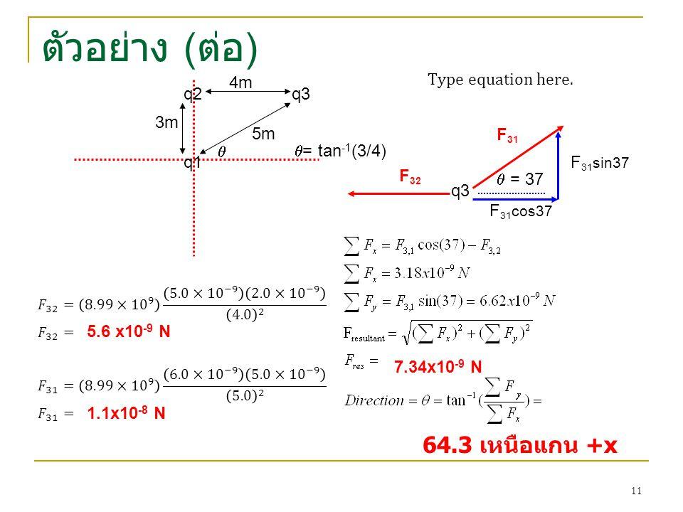 ตัวอย่าง (ต่อ) 64.3 เหนือแกน +x 4m Type equation here. q2 q3 3m 5m F31