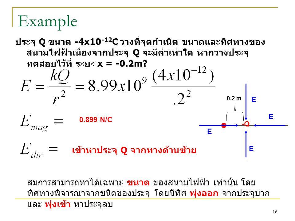 Example ประจุ Q ขนาด -4x10-12C วางที่จุดกำเนิด ขนาดและทิศทางของสนามไฟฟ้าเนื่องจากประจุ Q จะมีค่าเท่าใด หากวางประจุทดสอบไว้ที่ ระยะ x = -0.2m
