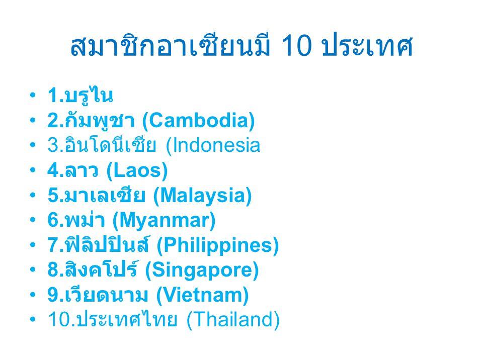 สมาชิกอาเซียนมี 10 ประเทศ