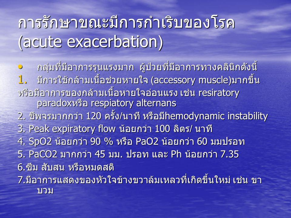 การรักษาขณะมีการกำเริบของโรค(acute exacerbation)