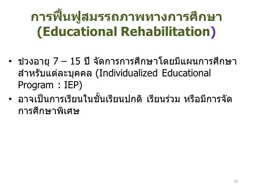 การฟื้นฟูสมรรถภาพทางการศึกษา (Educational Rehabilitation)