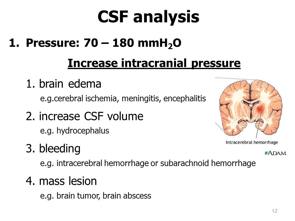 CSF analysis Pressure: 70 – 180 mmH2O Increase intracranial pressure