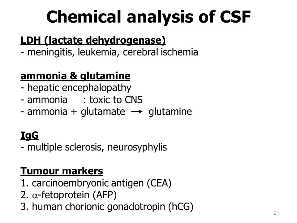 Chemical analysis of CSF