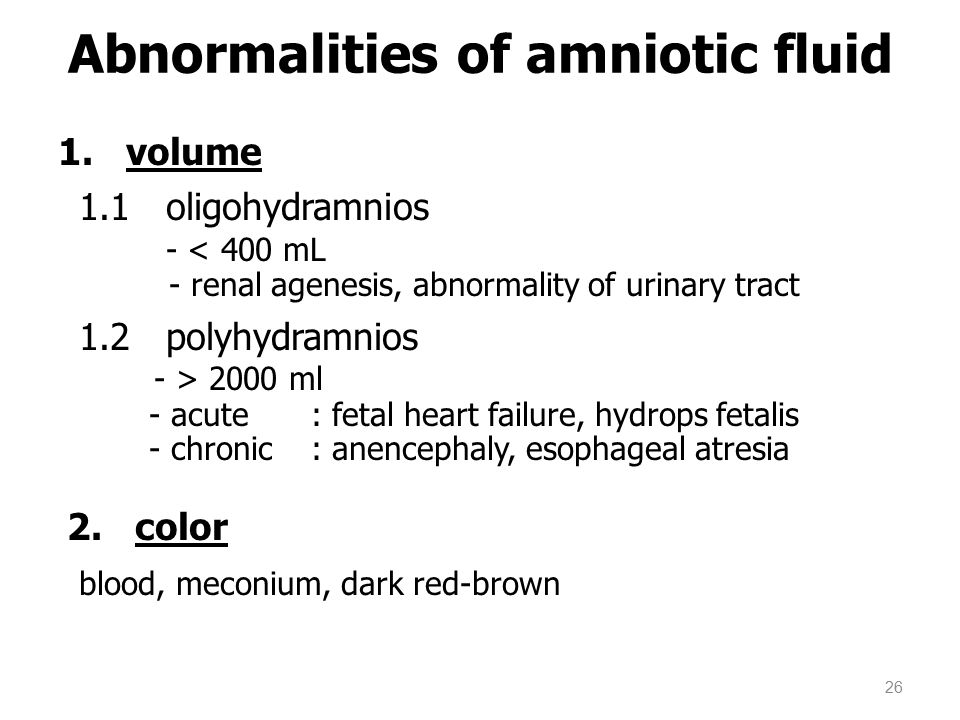 Abnormalities of amniotic fluid