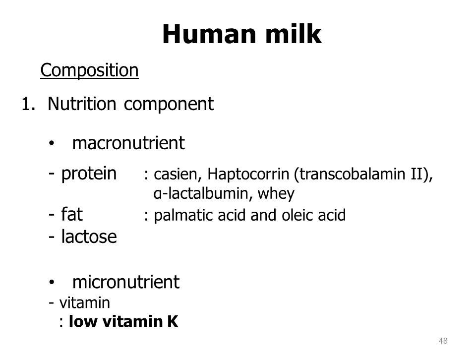 Human milk Composition Nutrition component macronutrient