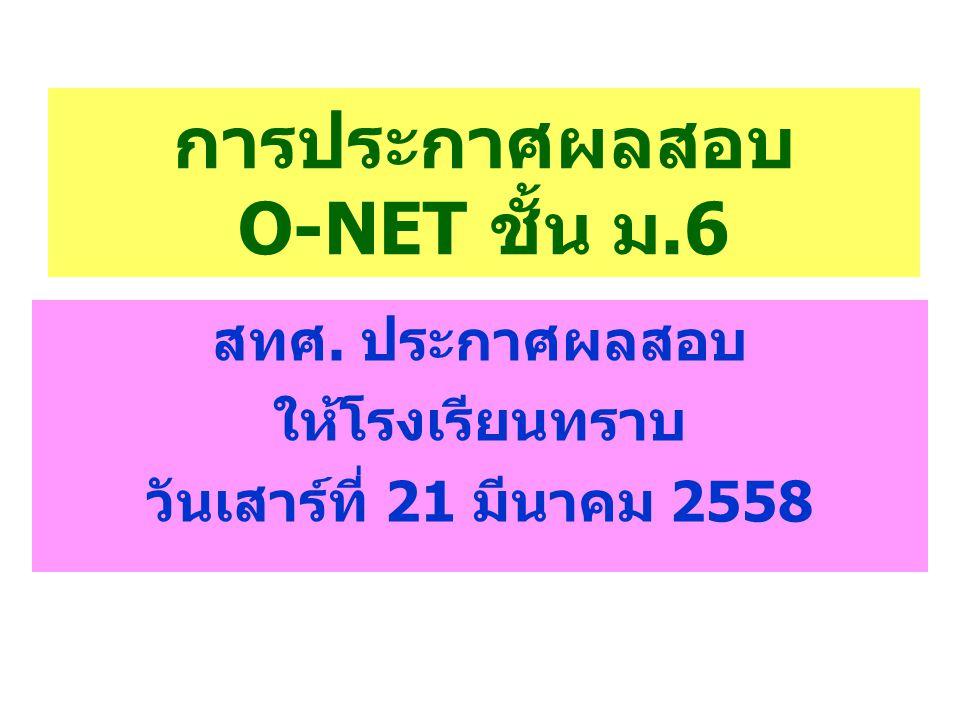 การประกาศผลสอบ O-NET ชั้น ม.6