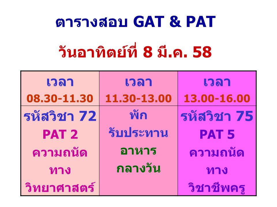 ตารางสอบ GAT & PAT วันอาทิตย์ที่ 8 มี.ค. 58