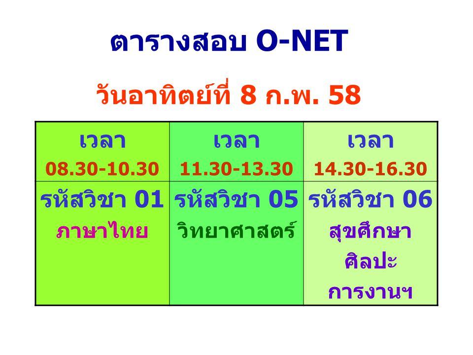 ตารางสอบ O-NET วันอาทิตย์ที่ 8 ก.พ. 58