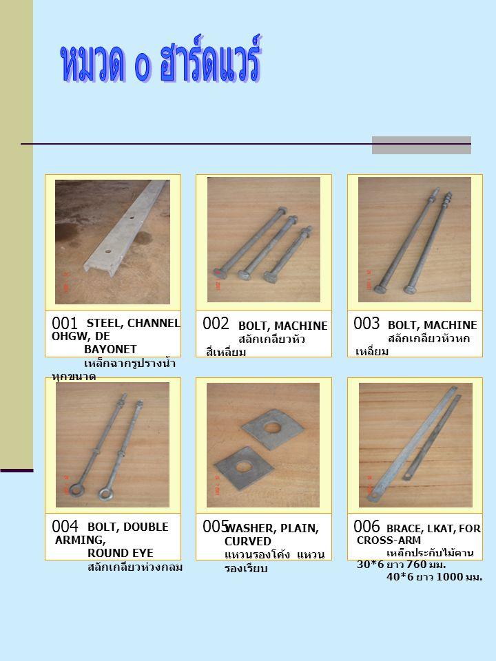 001 002 003 004 005 006 STEEL, CHANNEL OHGW, DE BOLT, MACHINE