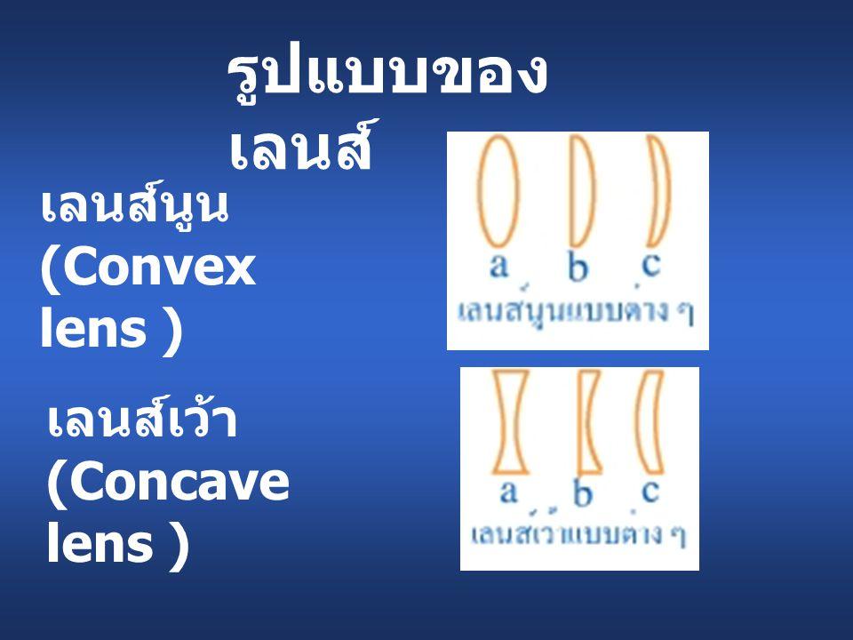 รูปแบบของเลนส์ เลนส์นูน (Convex lens ) เลนส์เว้า (Concave lens )