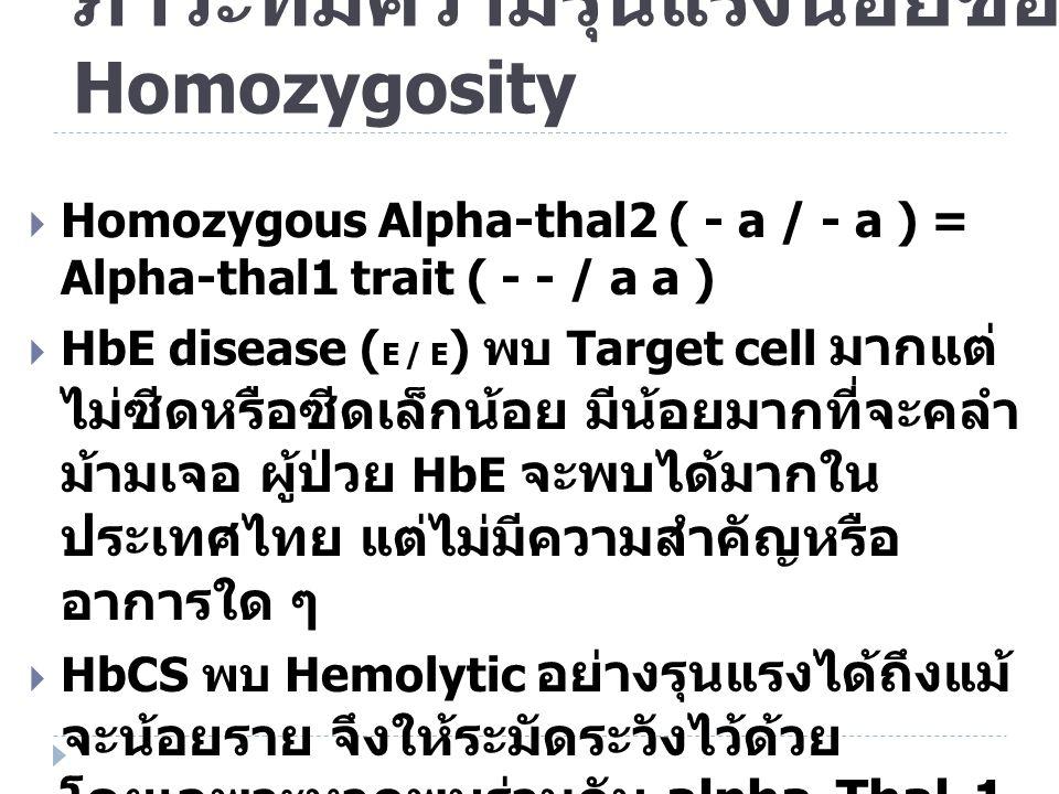 ภาวะที่มีความรุนแรงน้อยของ Homozygosity