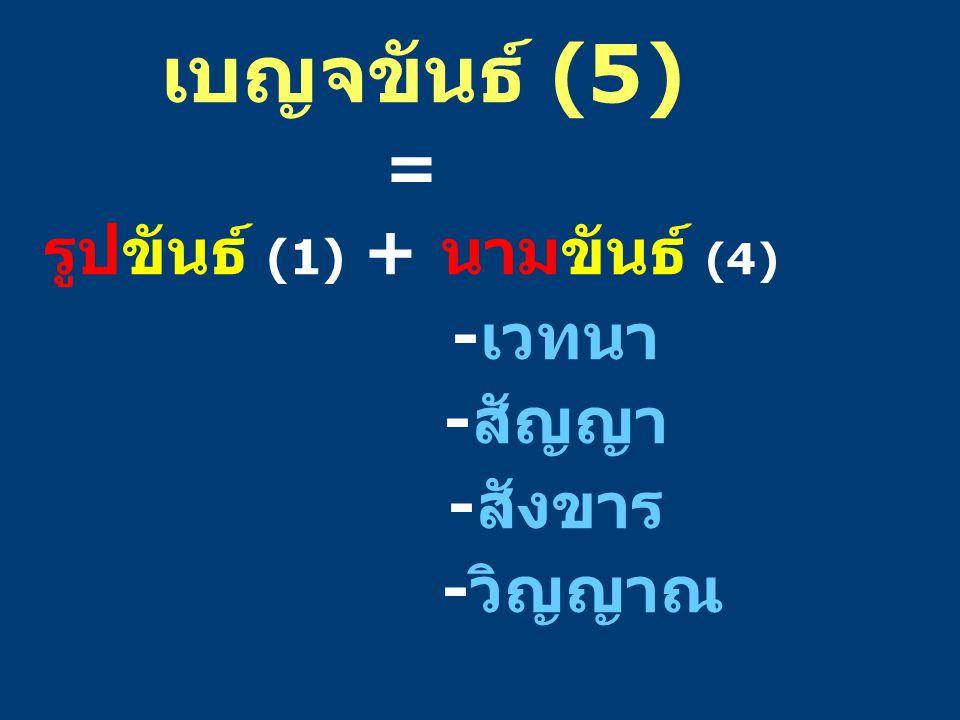 รูปขันธ์ (1) + นามขันธ์ (4)