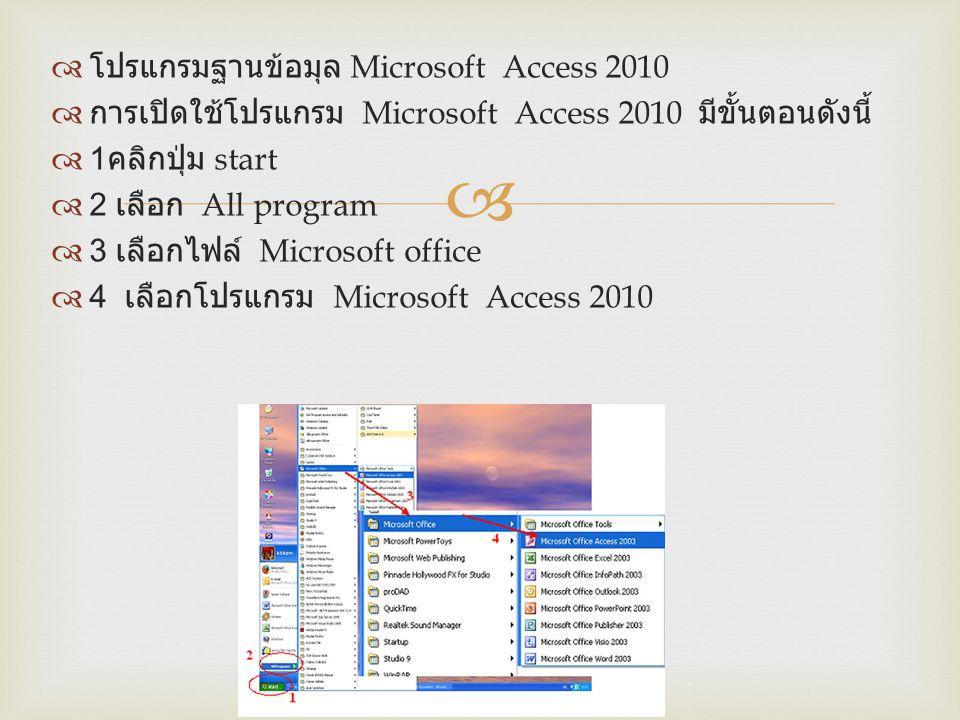โปรแกรมฐานข้อมุล Microsoft Access 2010