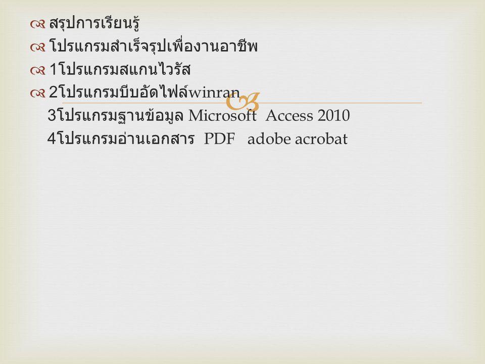 สรุปการเรียนรู้ โปรแกรมสำเร็จรุปเพื่องานอาชีพ. 1โปรแกรมสแกนไวรัส. 2โปรแกรมบีบอัดไฟล์winran. 3โปรแกรมฐานข้อมูล Microsoft Access 2010.