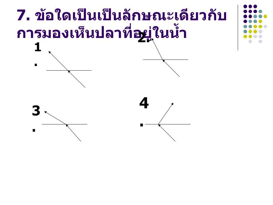 7. ข้อใดเป็นเป็นลักษณะเดียวกับการมองเห็นปลาที่อยู่ในน้ำ