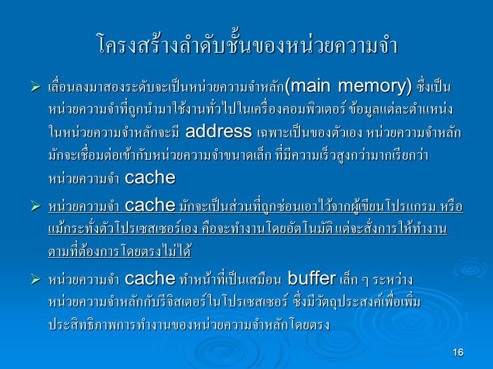 โครงสร้างลำดับชั้นของหน่วยความจำ