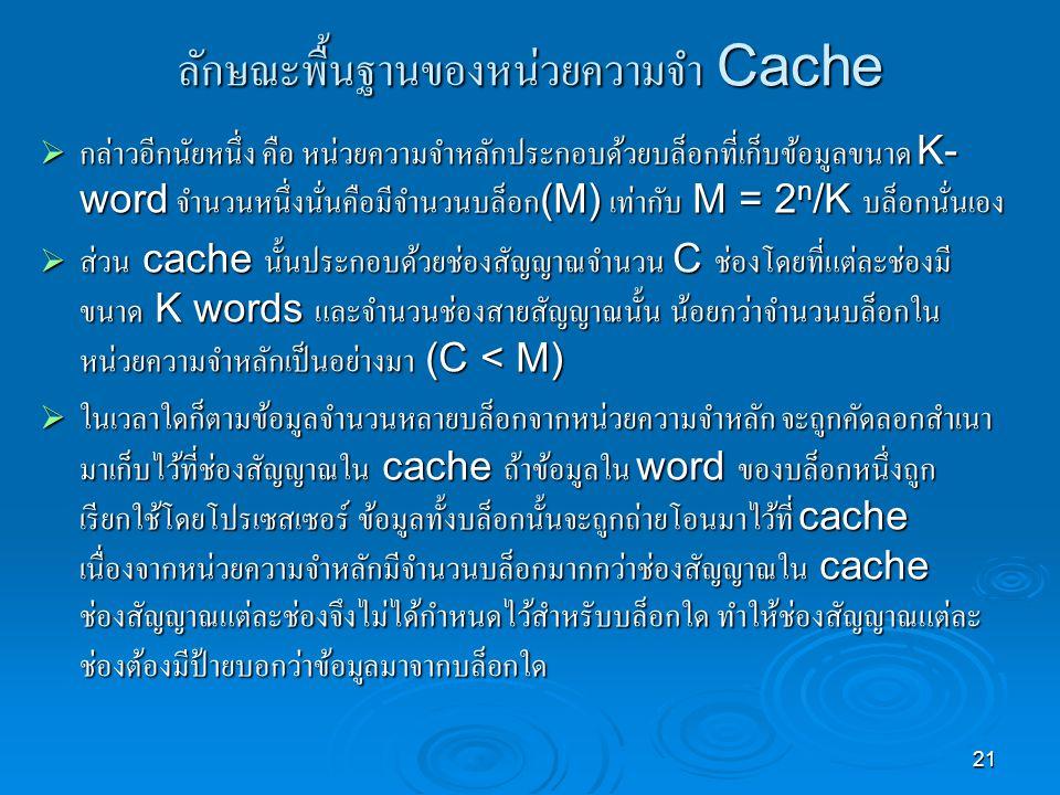 ลักษณะพื้นฐานของหน่วยความจำ Cache