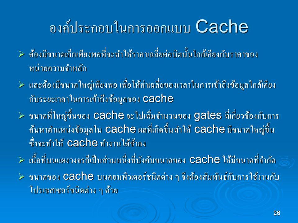 องค์ประกอบในการออกแบบ Cache