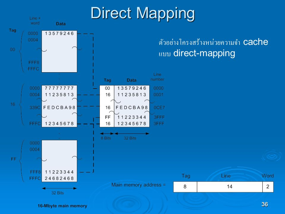 Direct Mapping ตัวอย่างโครงสร้างหน่วยความจำ cache แบบ direct-mapping