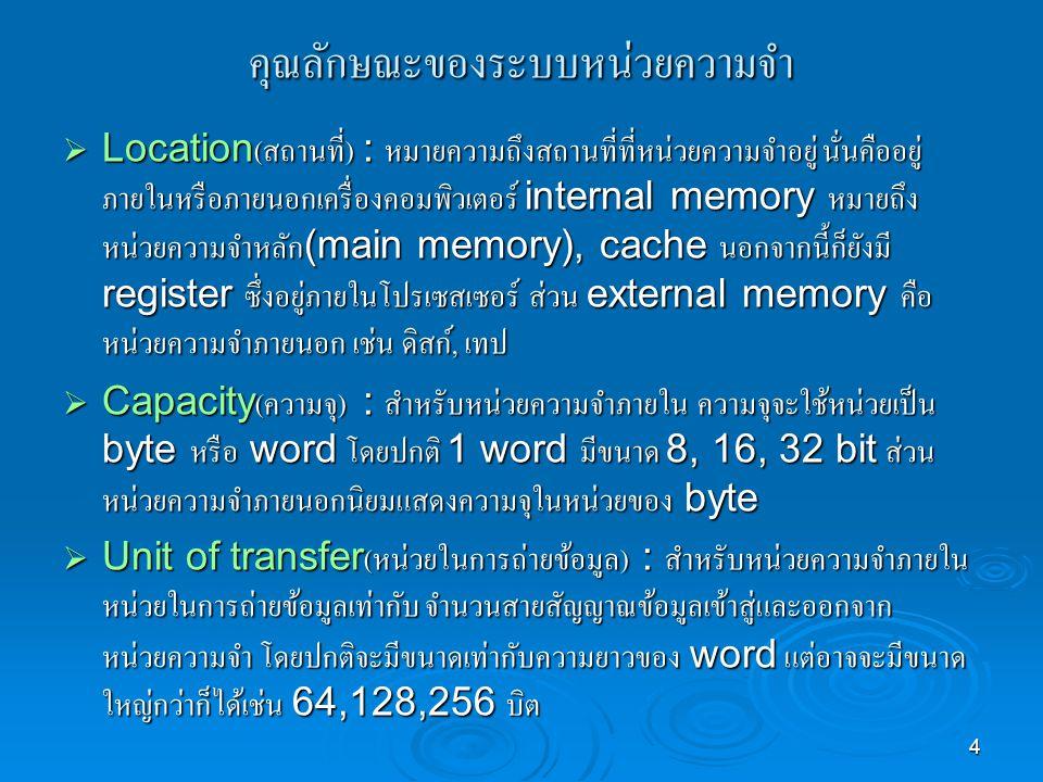 คุณลักษณะของระบบหน่วยความจำ