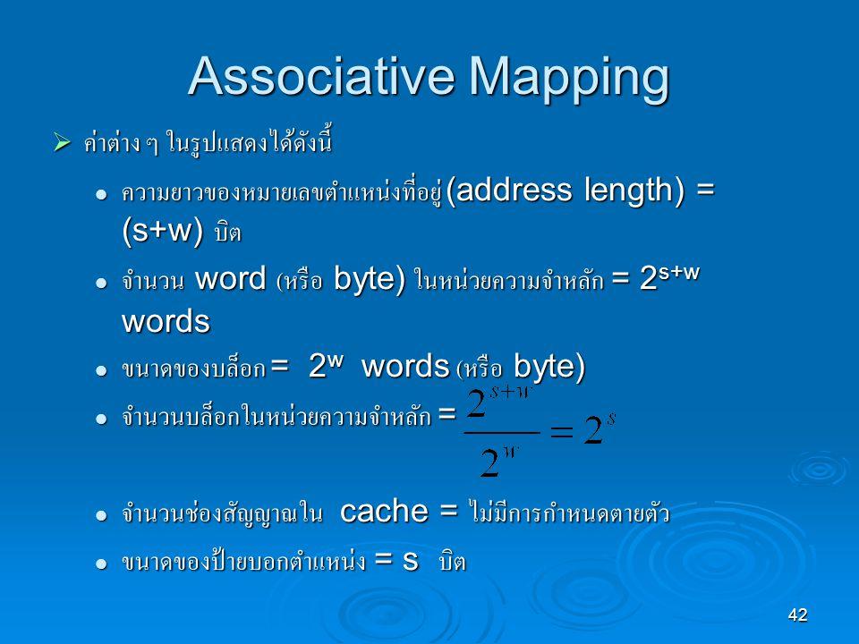 Associative Mapping ค่าต่าง ๆ ในรูปแสดงได้ดังนี้