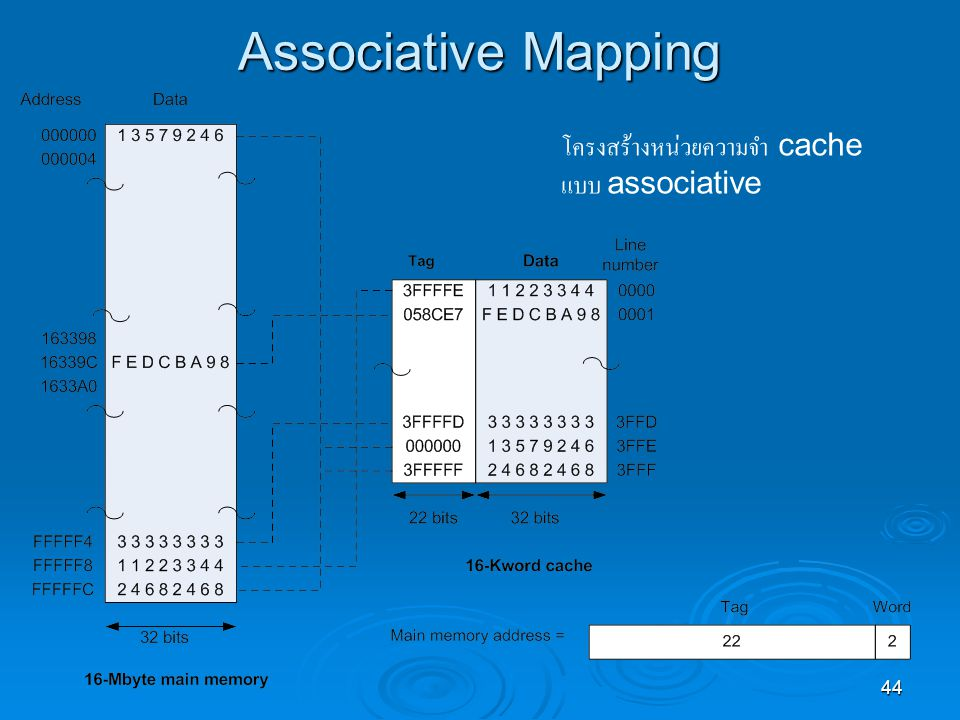 Associative Mapping โครงสร้างหน่วยความจำ cache แบบ associative