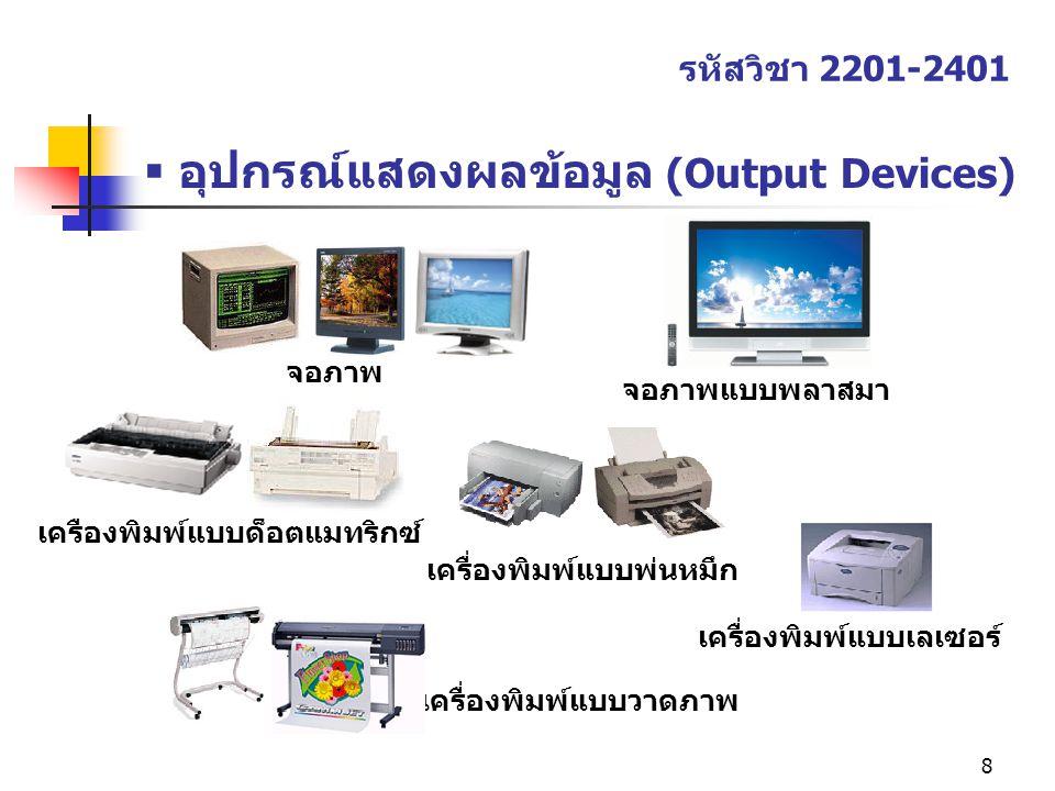 อุปกรณ์แสดงผลข้อมูล (Output Devices)